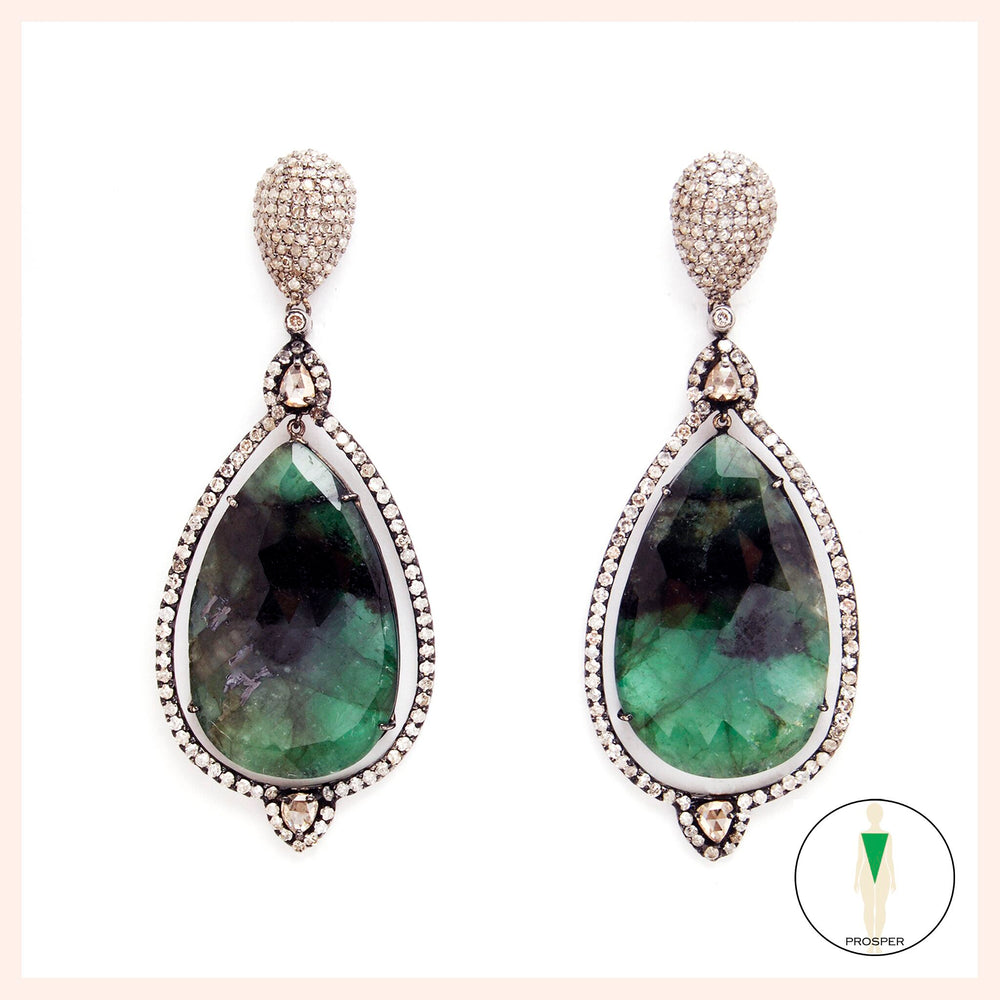 Emerald Spectrum Goddess Earrings