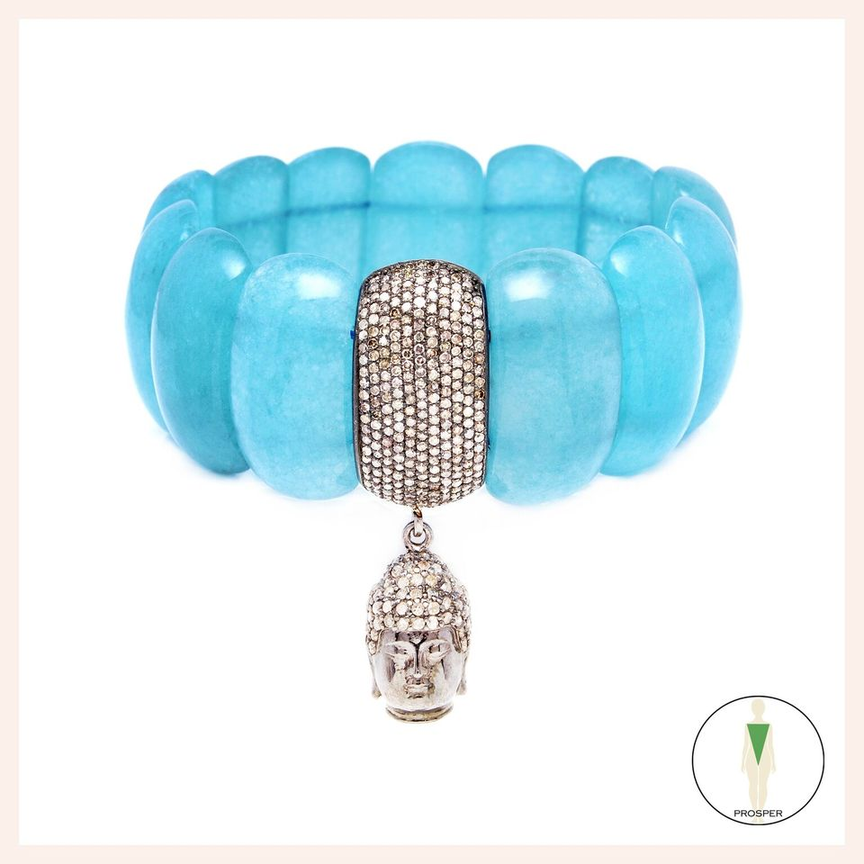 One of a Kind Aqua Quartz Danu Goddess Bracelet