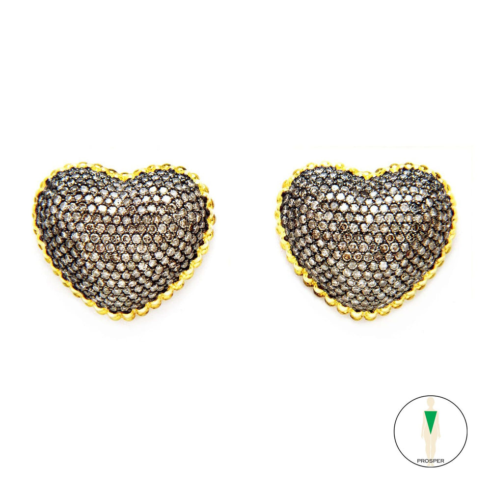 "One of a Kind Black Diamond Heart & ""OM"" Earrings"