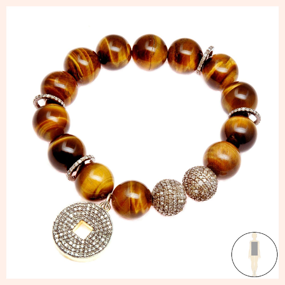 One of a Kind Tigers Eye Earth Energy Lotus Bracelet
