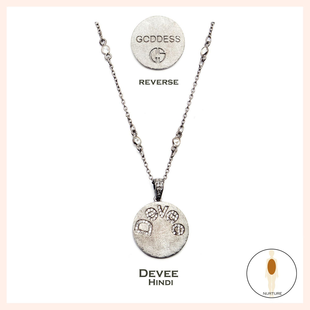 Nurture Hindi Goddess Devee White Topaz Necklace