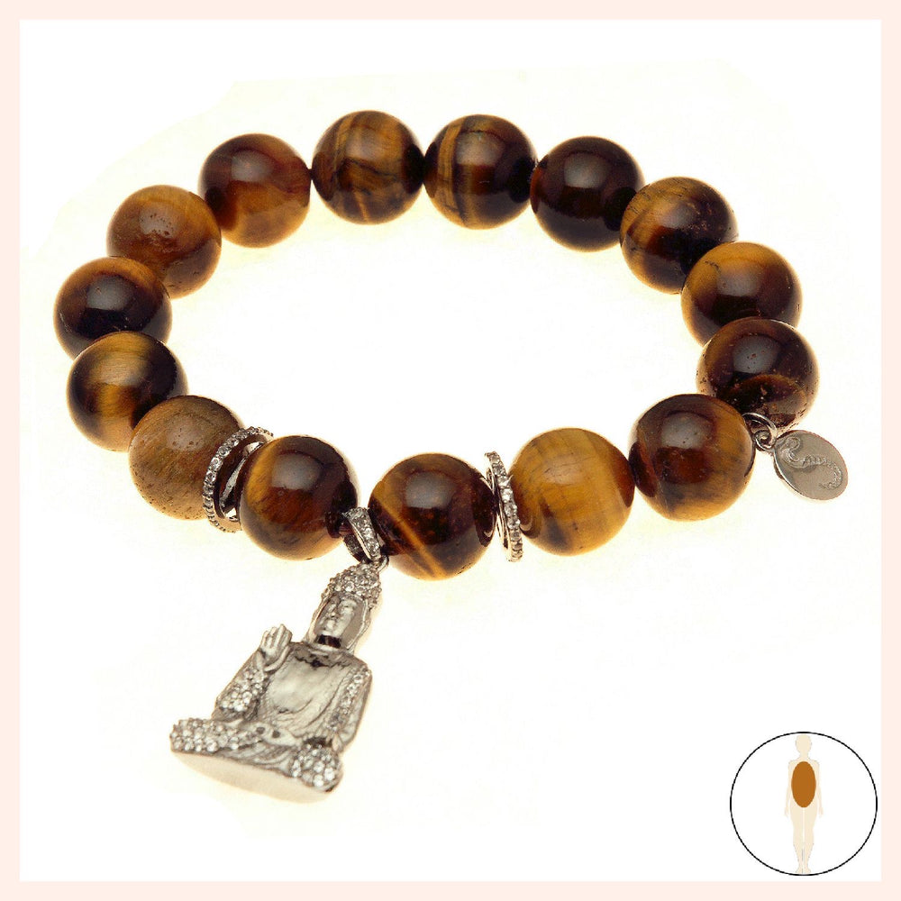 Tiger Eye Giggling Buddha Protection Bracelet