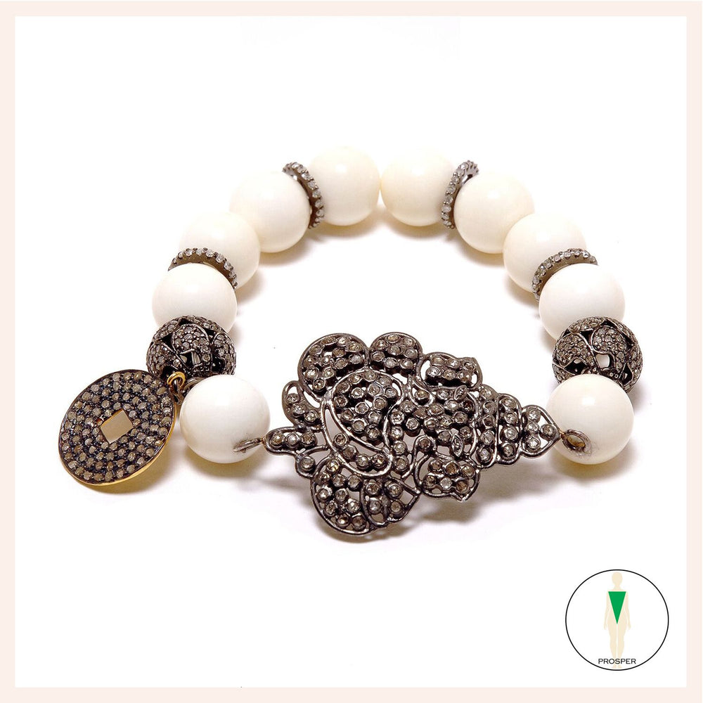 One of a Kind Camel Bone Yang Ganesh Bracelet