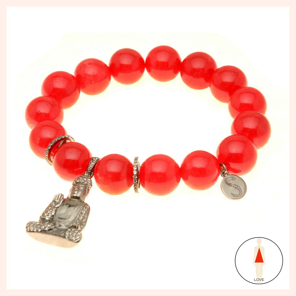 Love Giggling Buddha Red Coral Bracelet
