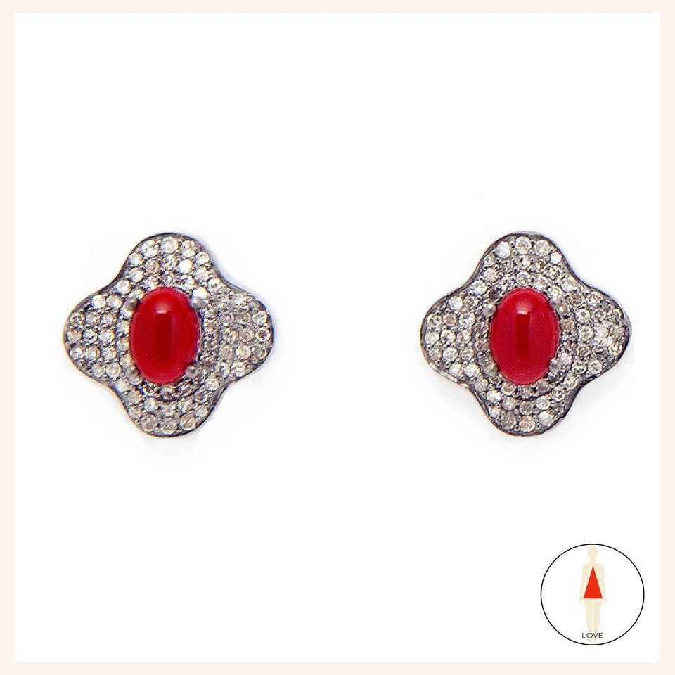 Lotus Coral Stud Earrings