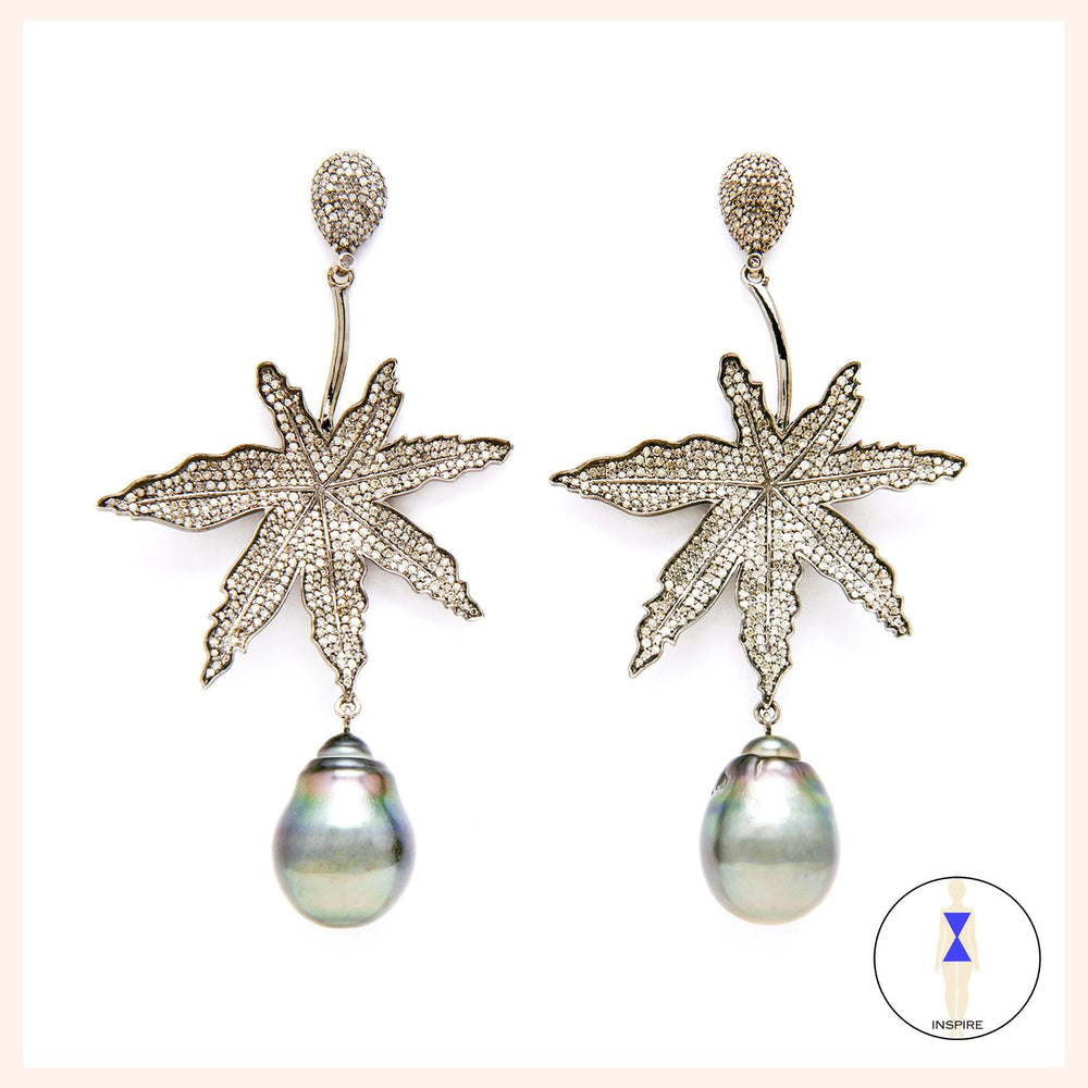Lighten Up Leaf Earrings - Black Tahitian Pearl