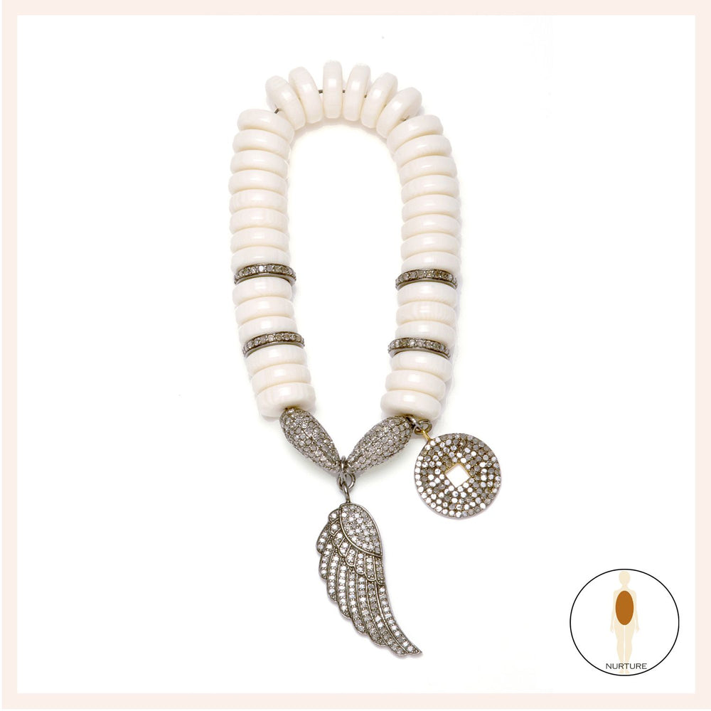 One of a Kind Camel Bone Passion Soul Wing Bracelet White