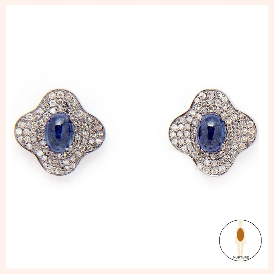 Lotus Bleu Stud Earrings