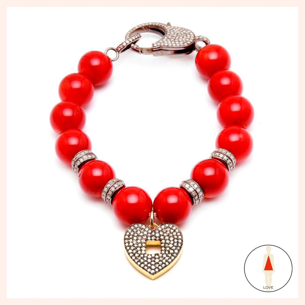 "One of a Kind Carnelian Heart & ""OM"" Bracelet"