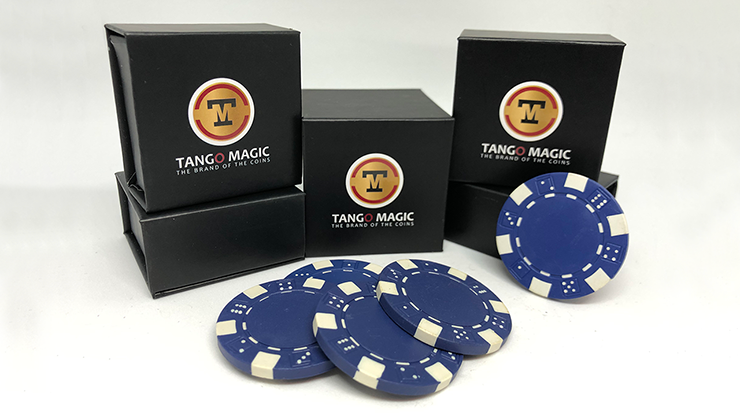 Expanded Shell Poker Chip Blue plus 4 Regular Chips (PK001B)  by Tango Magic - Trick