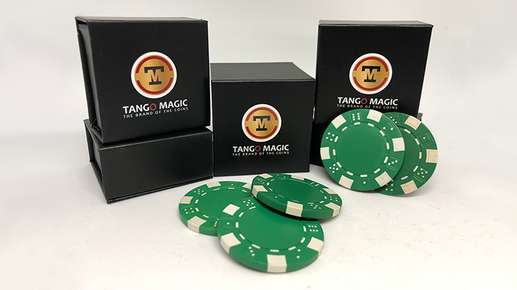 TUC Poker Chip Green plus 3 regular chips (PK002G) by Tango Magic - Trick