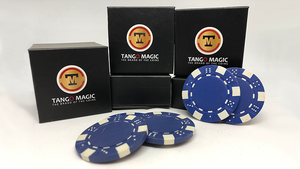 TUC Poker Chip Blue plus 3 regular chips (PK002B) by Tango Magic - Trick
