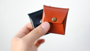 Square Coin Case (Black Leather) by Gentle Magic - Trick