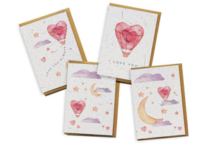 Card 4-Pack - I Love You Air Balloon