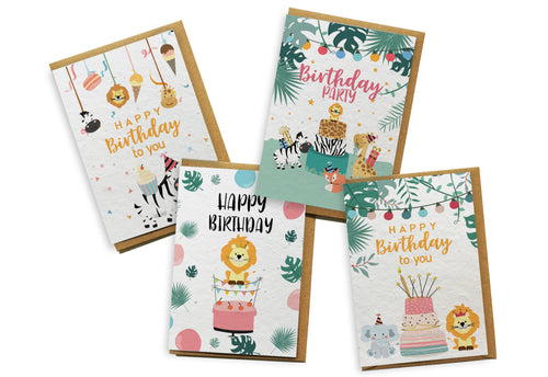 Card 4-Pack - Jungle Birthday