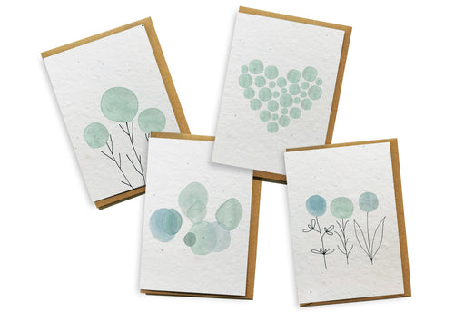 Card 4-Pack - Teal Watercolour