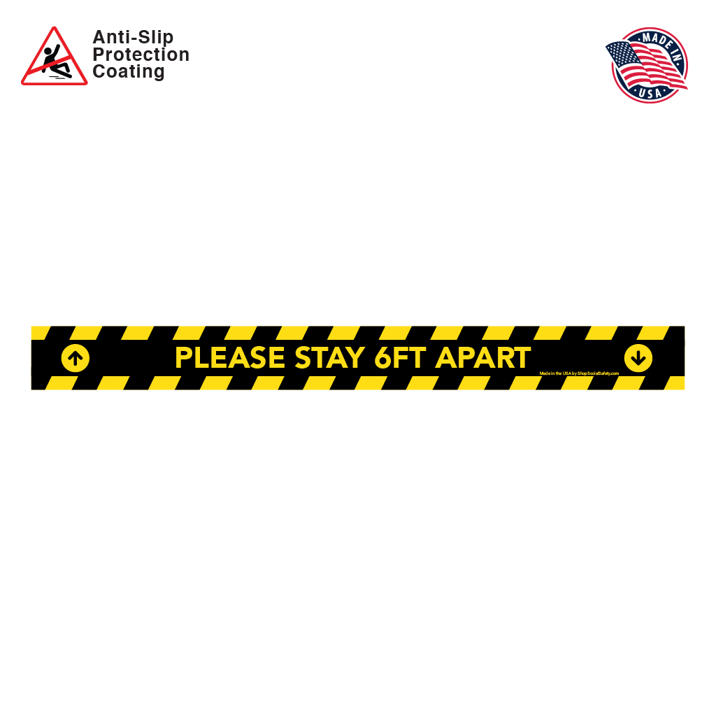 Please Stay 6FT Apart With Arrows -  Floor Decal Rectangular Strip in Yellow and Black