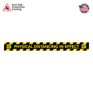 Physical Distancing Floor Decal Rectangular Strip in Black and Yellow