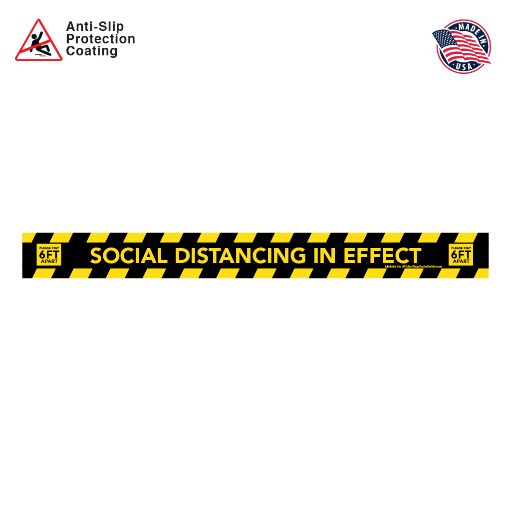 Social Distancing Floor Decal Rectangular Strip in Yellow and Black