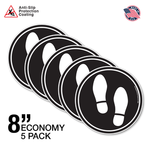 "8"" Economy 5 Pack - Feet Mark The Spot - B/W"