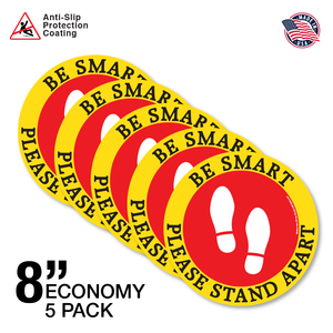 "8"" Economy 5 Pack - Be Smart, Please Stand Apart - Red and Yellow"