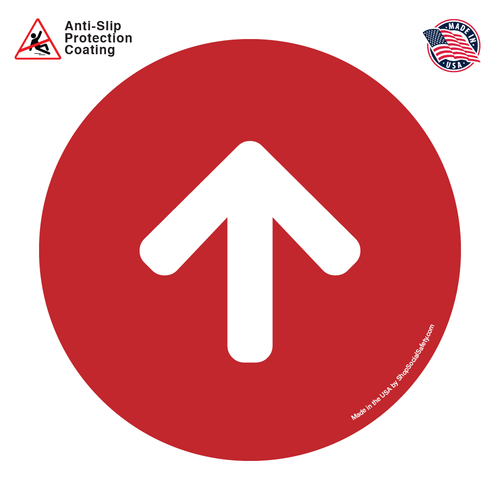 Direction Arrow - Red Background With White Arrow