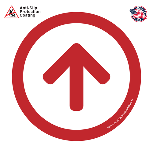 Direction Arrow - White Background With Red Arrow and Boarder