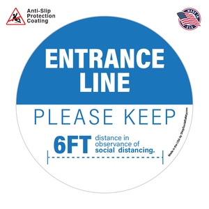 Entrance Line Floor Decal In Blue