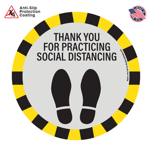 Thank You For Social Distancing Floor Decal with Yellow and Black Caution Theme