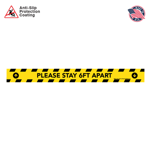Please Stay 6FT Apart With Arrows -  Floor Decal Rectangular Strip in Black and Yellow