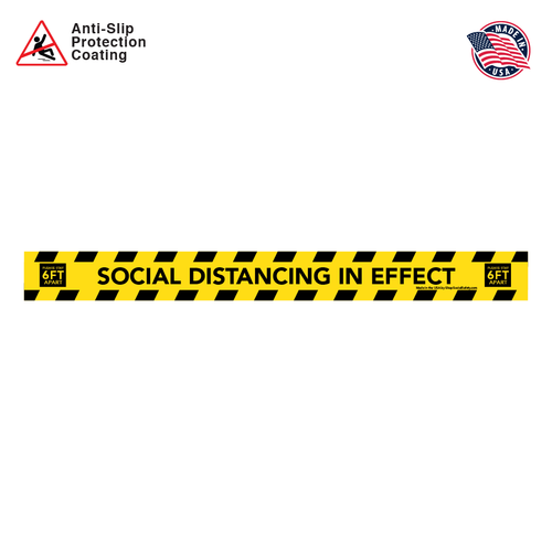 Social Distancing Floor Decal Rectangular Strip in Black and Yellow