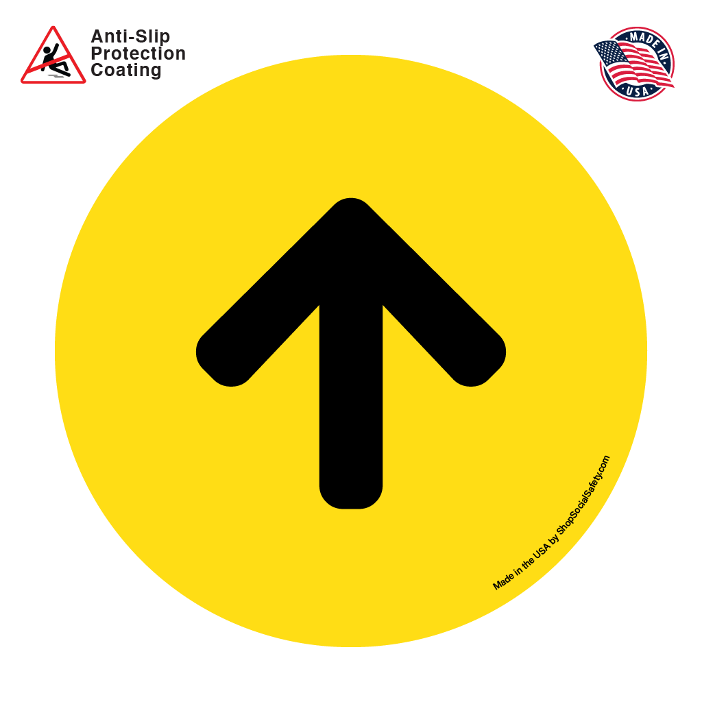 Direction Arrow - Yellow Background With Black Arrow