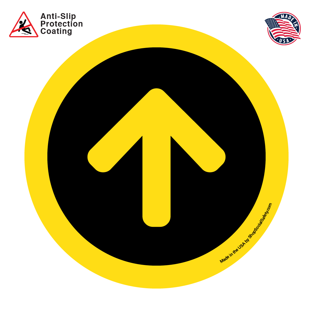 Direction Arrow - Black Background With Yellow Arrow and Boarder