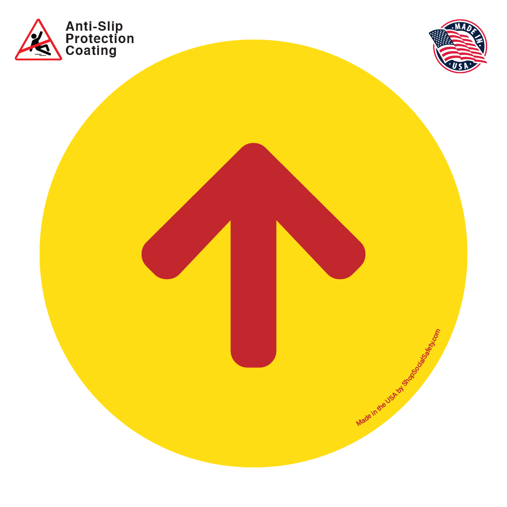 Direction Arrow - Yellow Background With Red Arrow