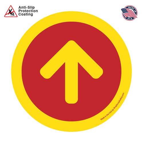 Direction Arrow - Red Background With Yellow Arrow and Boarder