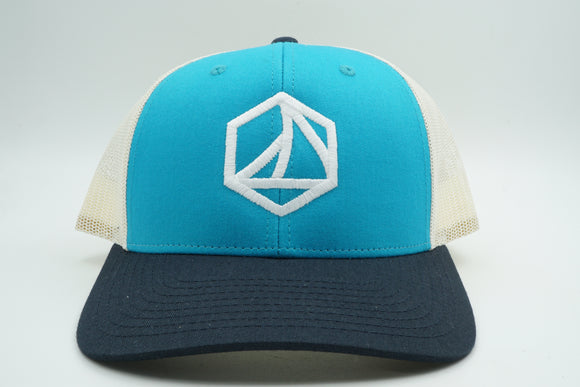 Trucker Birch, Blue Teal, and Navy Sunday Logo