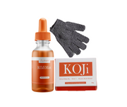 KOJi Max, XL 5 in 1 BAR Kojic Acid Kit and Hygienic Fingerless Dark Parts Exfoliating Gloves
