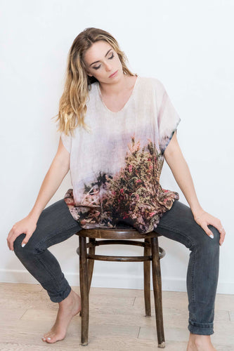 ALPINE WILD FLOWERS LINEN TOP