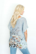 Load image into Gallery viewer, BLUE FLORAL LINEN TOP