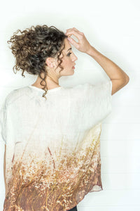 FLOWERING GRASSES LINEN TOP
