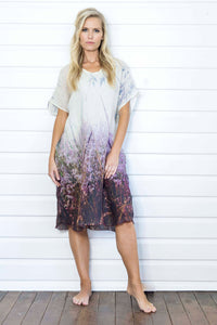 FLOWERING GRASSES LINEN KAFTAN