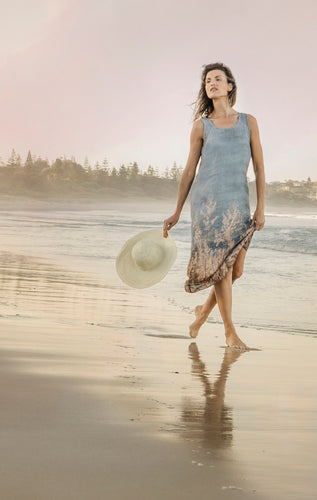 OCEAN GRASSES BYRON LINEN TANK DRESS