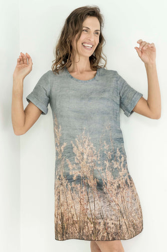 OCEAN GRASSES LINEN SHIFT DRESS