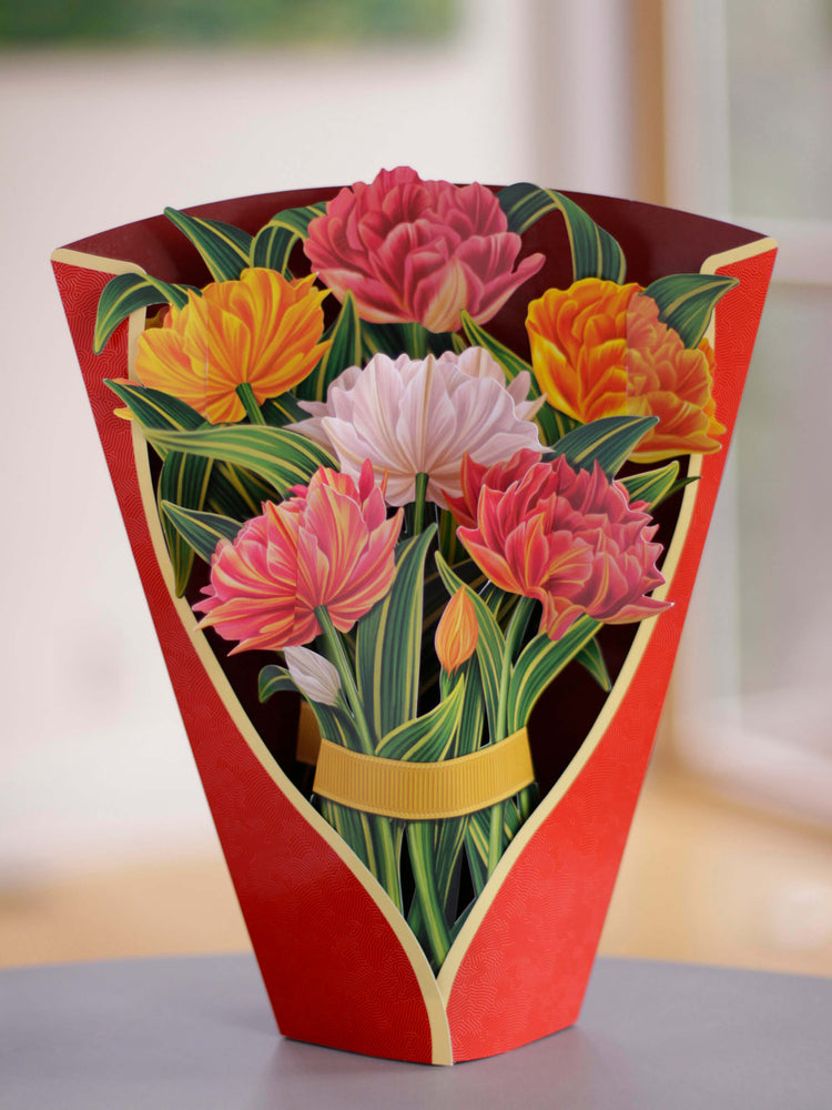 "FreshCut Paper 3D pop up ""Daffodils"" measure 12"" tall by 9"" wide. Our Murillo Tulips can stand alone or be used with the accompanying vase that comes with your bouquet."