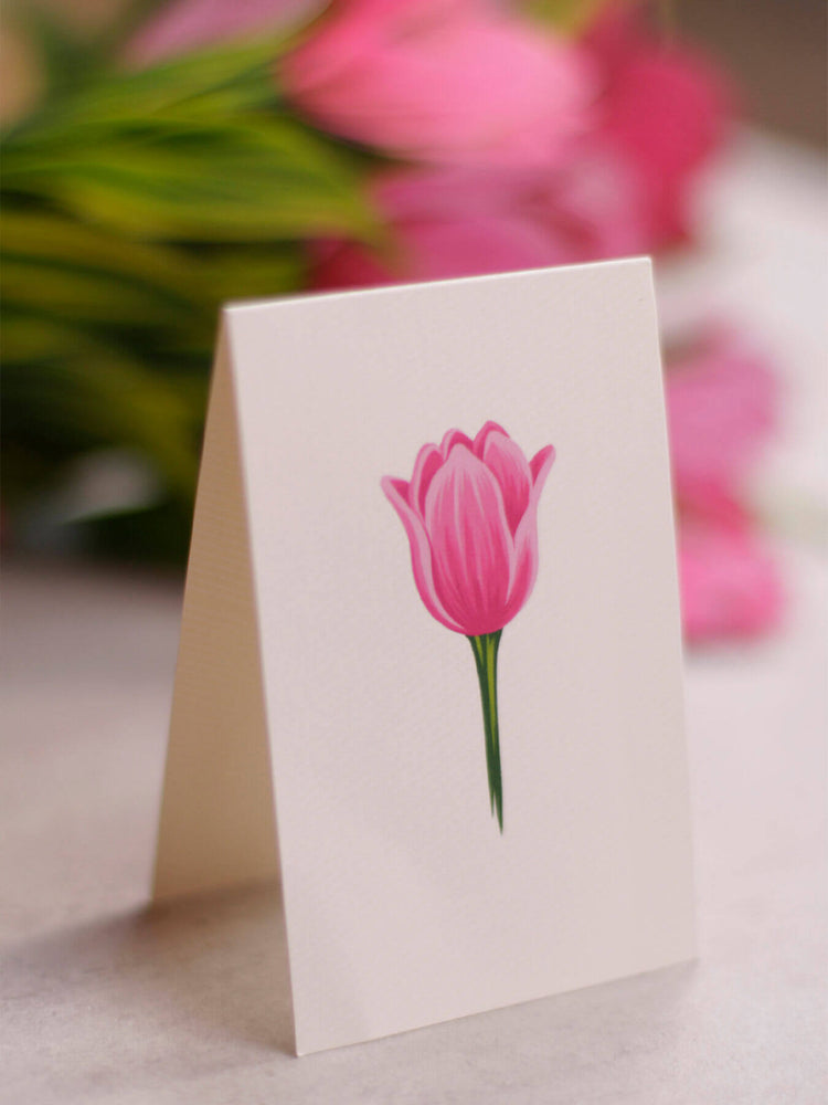 "FreshCut Paper's 3D pop up Pink Tulips include a matching 2.75"" x 8"" note card so you may write your own personal message to your gift recipient."
