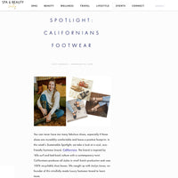 <h1>Spa and Beauty Today</h1><h2> SUSTAINABLE SPOTLIGHT: CALIFORNIANS FOOTWEAR</h2>