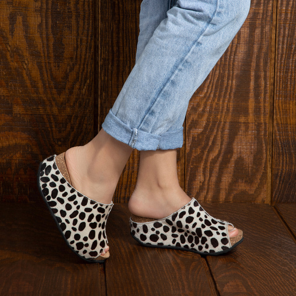 Cecilia peep-toe wrap-around mule wedge in dalmatian leather