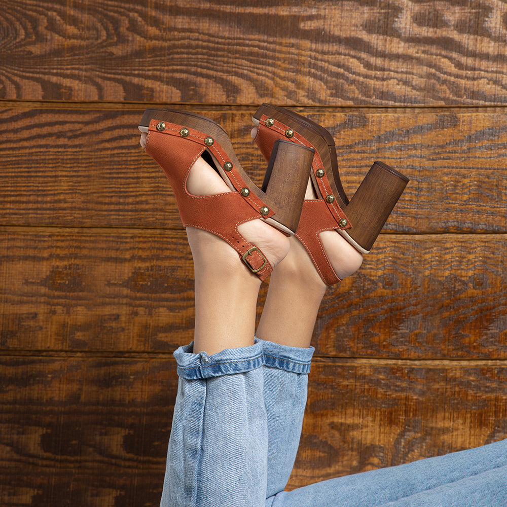 Jean open-toe sling back mules in rust