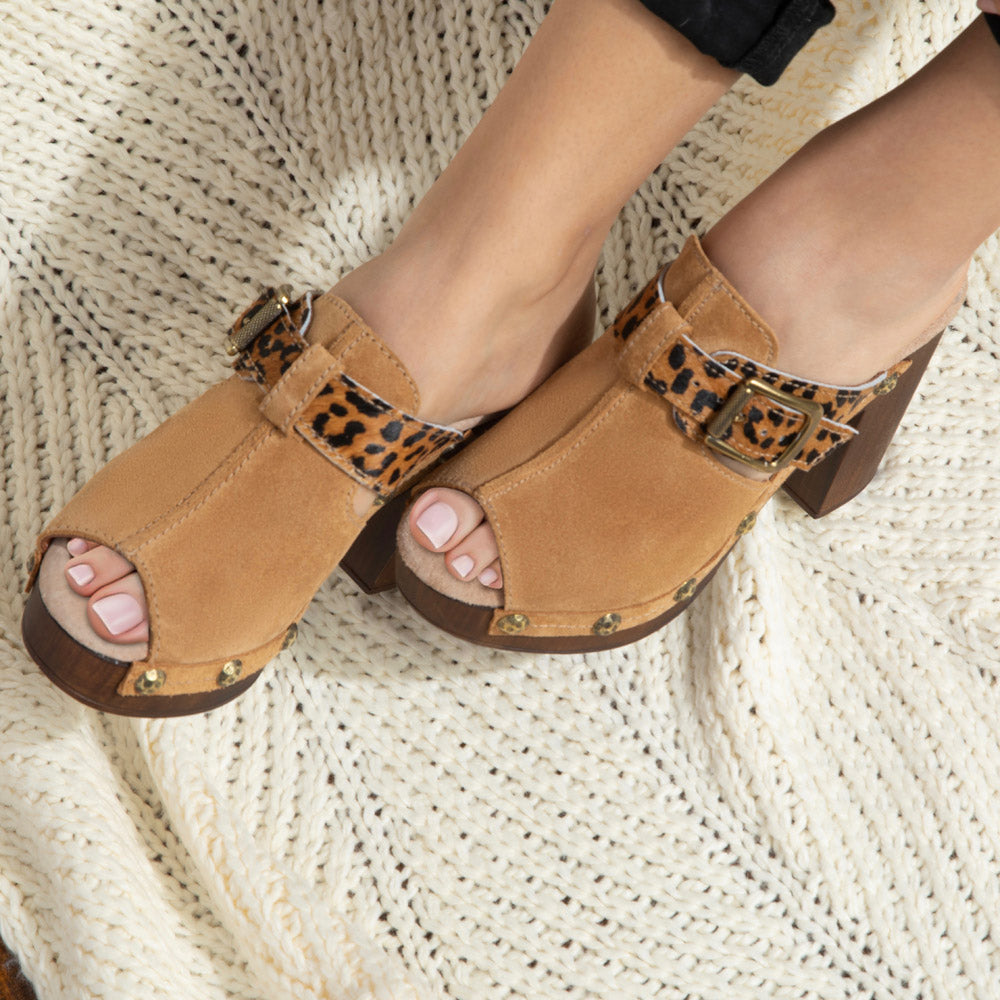 Mae belted open-toe platform clogs