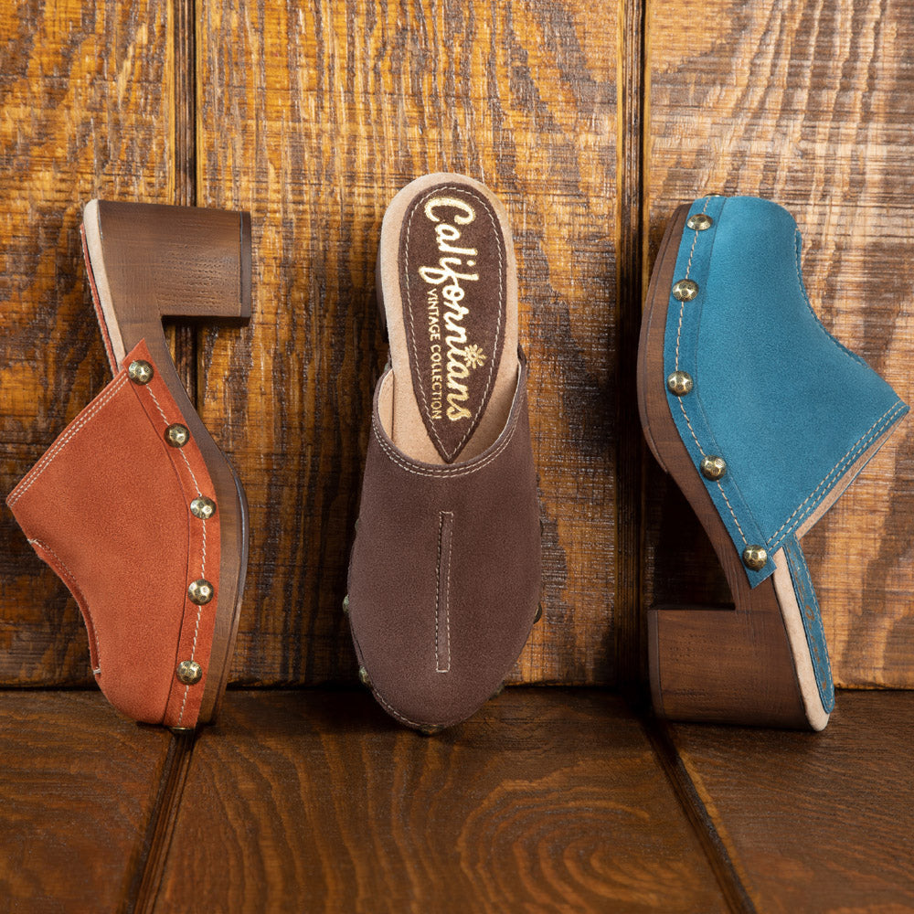 Susan vintage clogs in chocolate, ocean blue and rust suede